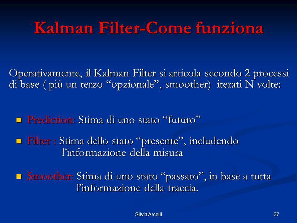 37Silvia Arcelli Kalman Filter-Come funziona Prediction: Stima di uno stato futuro Prediction: Stima di uno stato futuro Filter : Stima dello stato pr