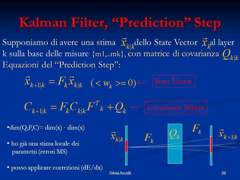39Silvia Arcelli Kalman Filter, Prediction Step Supponiamo di avere una stima dello State Vector al layer {m1,..mk}, con matrice di covarianza. Equazi
