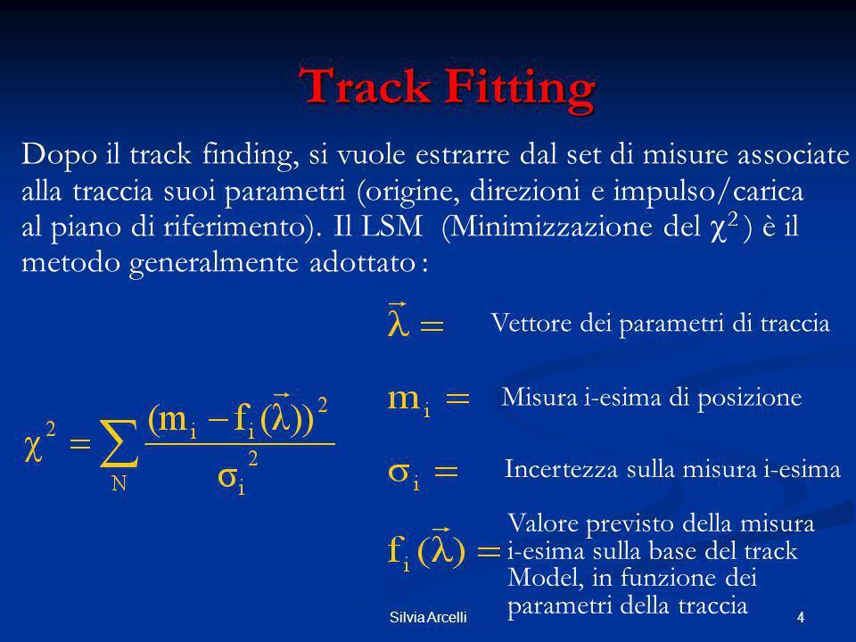 5Silvia Arcelli Track Fitting Track Fitting Notazione Matriciale: Condizione di minimo : F è la matrice delle derivate: con diagonale: incertezze non correlate misure gaussiane Si assume inoltre