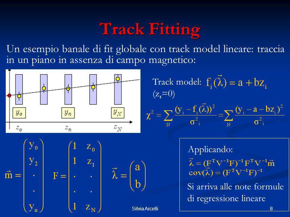 29Silvia Arcelli Kalman Filter Metodo recursivo di track finding e fitting simultaneo Metodo recursivo di track finding e fitting simultaneo Si dimostra che è equivalente ad una procedura globale di minimizzazione di 2, con le stesse proprietè del LSM Si dimostra che è equivalente ad una procedura globale di minimizzazione di 2, con le stesse proprietè del LSM Costo computazionale limitato, massima dimensione delle matrici pari a quelle del vettore dei parametri della traccia Costo computazionale limitato, massima dimensione delle matrici pari a quelle del vettore dei parametri della traccia E in grado di fornisce la stima ottimale dei parametri della traccia in ogni punto della traiettoria E in grado di fornisce la stima ottimale dei parametri della traccia in ogni punto della traiettoria