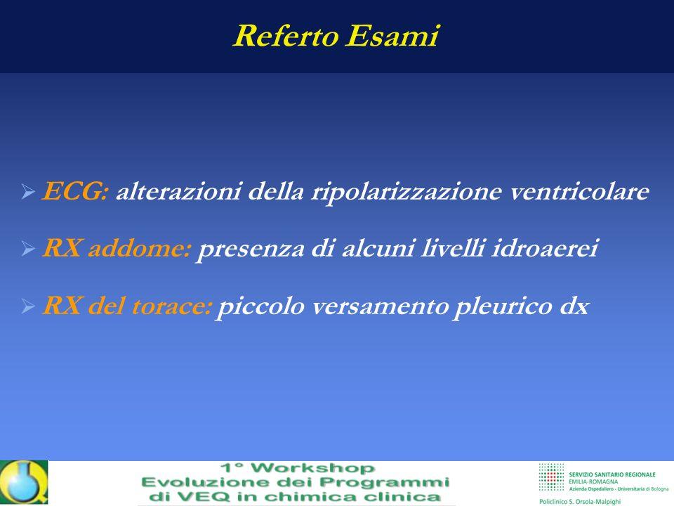 Referto Esami ECG: alterazioni della ripolarizzazione ventricolare RX addome: presenza di alcuni livelli idroaerei RX del torace: piccolo versamento p