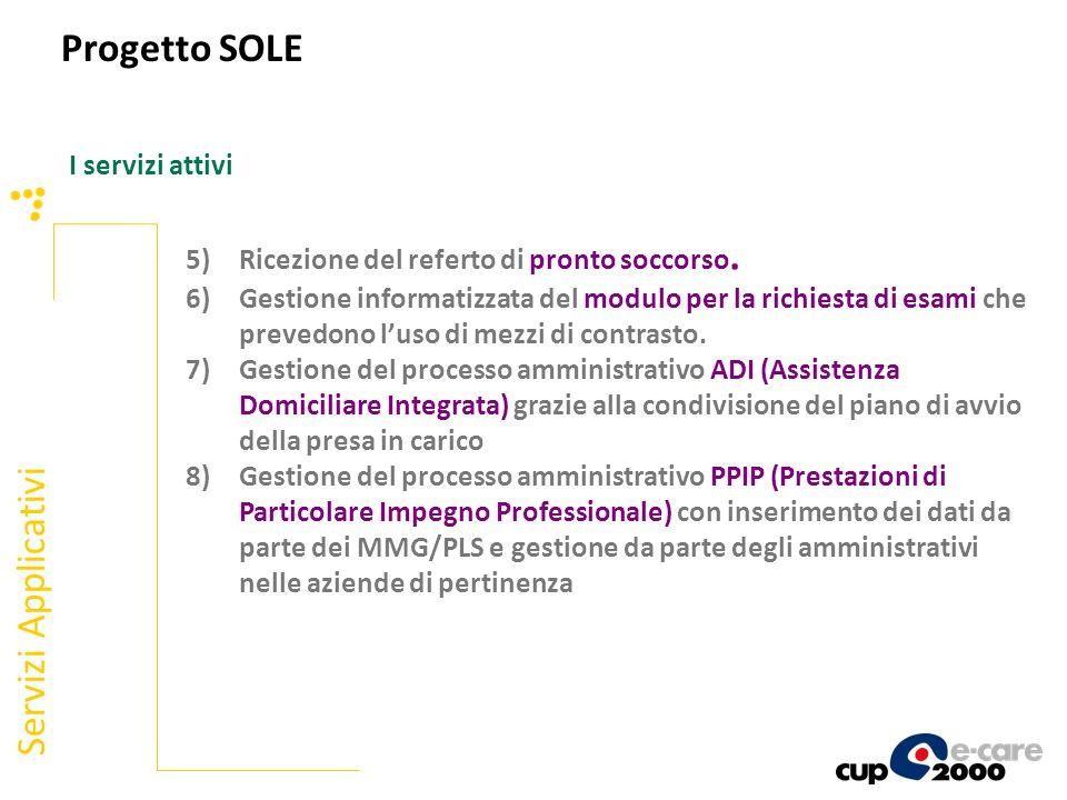 I servizi attivi Servizi Applicativi 5)Ricezione del referto di pronto soccorso. 6)Gestione informatizzata del modulo per la richiesta di esami che pr
