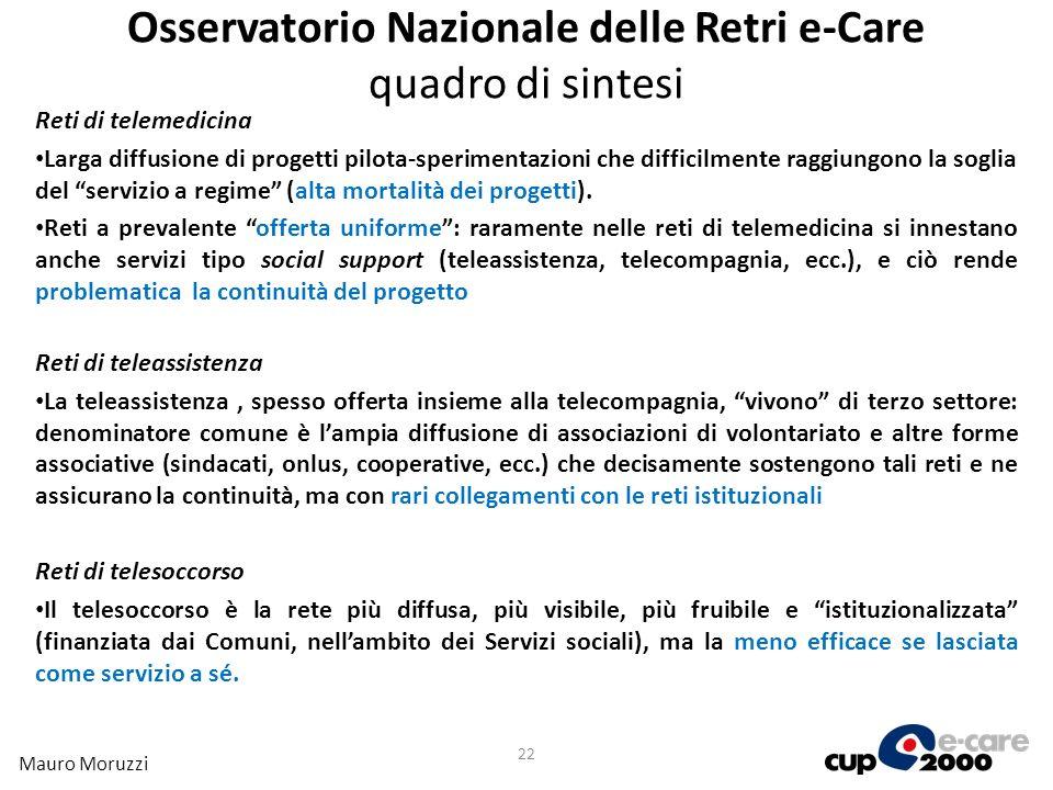 Osservatorio Nazionale delle Retri e-Care quadro di sintesi Reti di telemedicina Larga diffusione di progetti pilota-sperimentazioni che difficilmente