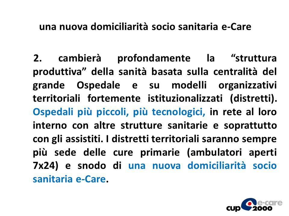 2. cambierà profondamente la struttura produttiva della sanità basata sulla centralità del grande Ospedale e su modelli organizzativi territoriali for