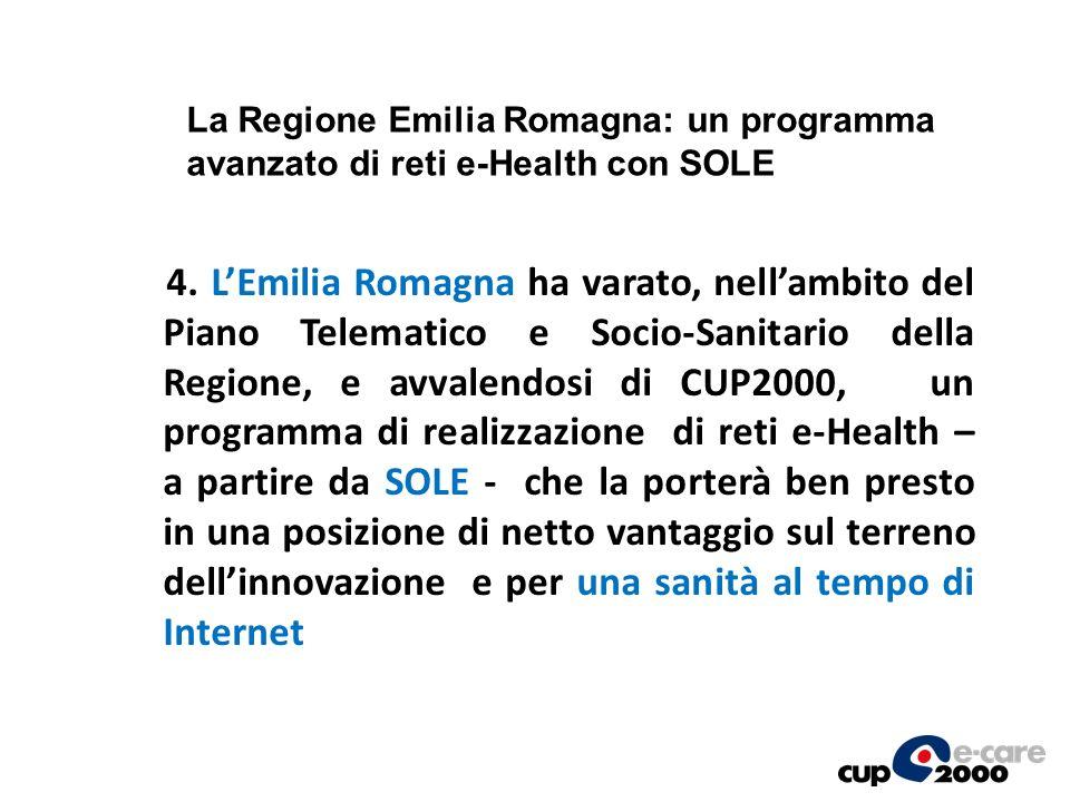 4. LEmilia Romagna ha varato, nellambito del Piano Telematico e Socio-Sanitario della Regione, e avvalendosi di CUP2000, un programma di realizzazione