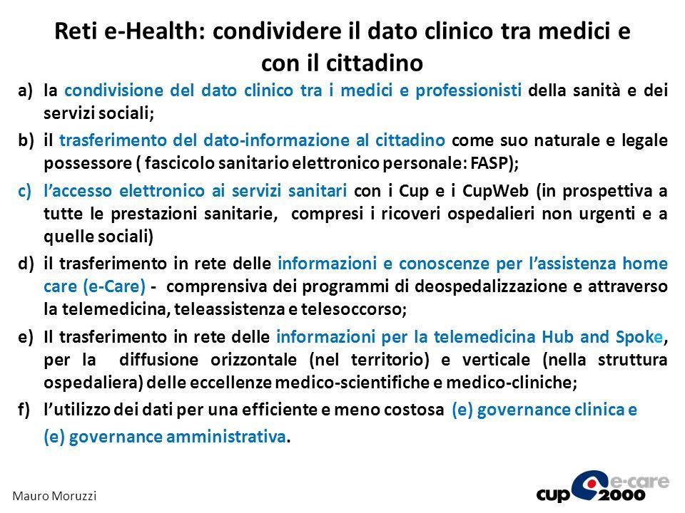 Reti e-Health: condividere il dato clinico tra medici e con il cittadino a)la condivisione del dato clinico tra i medici e professionisti della sanità