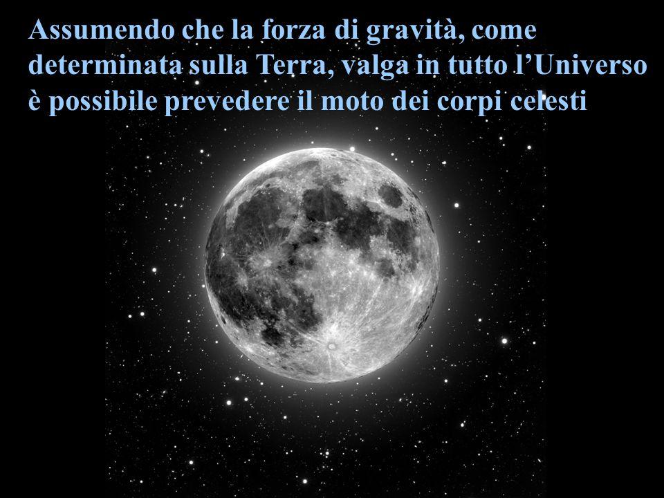 Assumendo che la forza di gravità, come determinata sulla Terra, valga in tutto lUniverso è possibile prevedere il moto dei corpi celesti