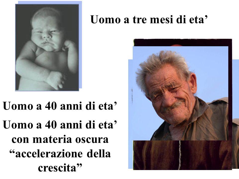 Uomo a tre mesi di eta Uomo a 40 anni di eta con materia oscura accelerazione della crescita