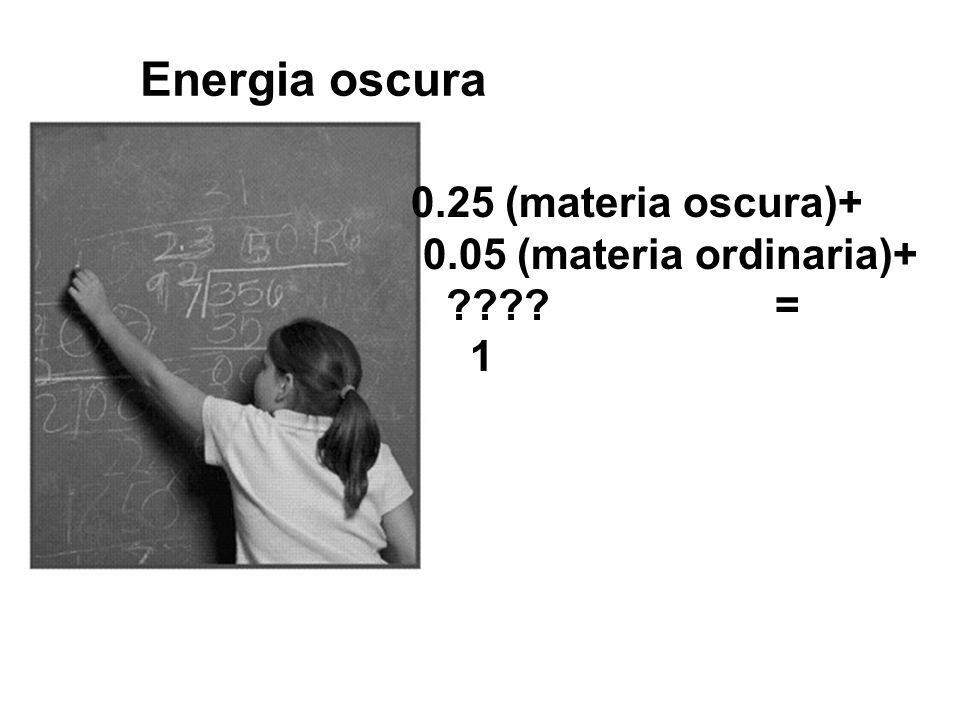 Energia oscura 0.25 (materia oscura)+ 0.05 (materia ordinaria)+ = 1