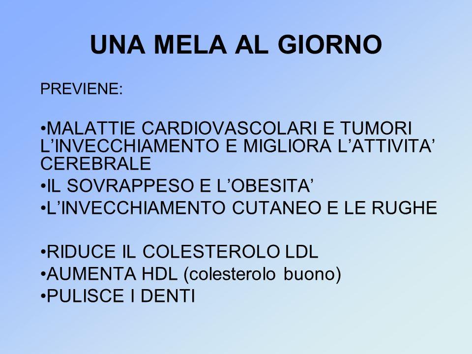 UNA MELA AL GIORNO PREVIENE: MALATTIE CARDIOVASCOLARI E TUMORI LINVECCHIAMENTO E MIGLIORA LATTIVITA CEREBRALE IL SOVRAPPESO E LOBESITA LINVECCHIAMENTO CUTANEO E LE RUGHE RIDUCE IL COLESTEROLO LDL AUMENTA HDL (colesterolo buono) PULISCE I DENTI