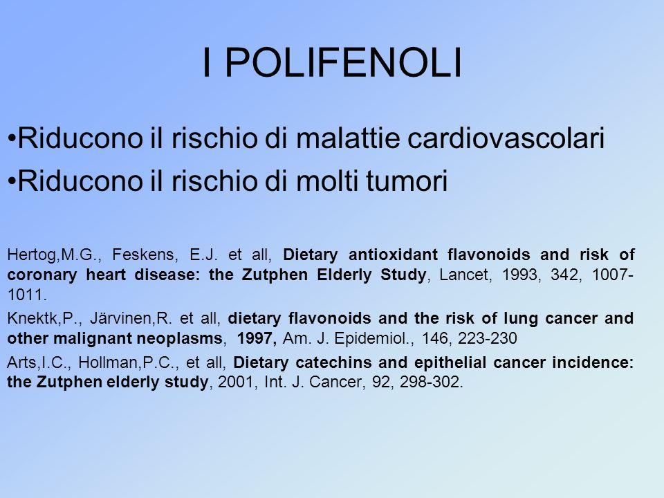 I POLIFENOLI Riducono il rischio di malattie cardiovascolari Riducono il rischio di molti tumori Hertog,M.G., Feskens, E.J. et all, Dietary antioxidan