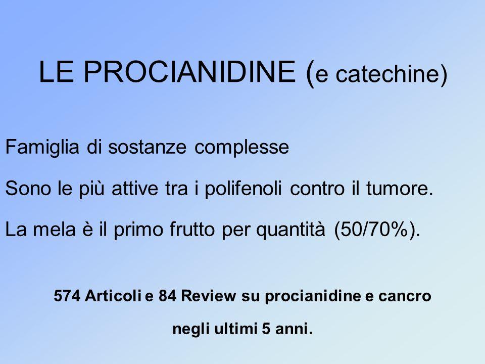 LE PROCIANIDINE ( e catechine) Famiglia di sostanze complesse Sono le più attive tra i polifenoli contro il tumore.