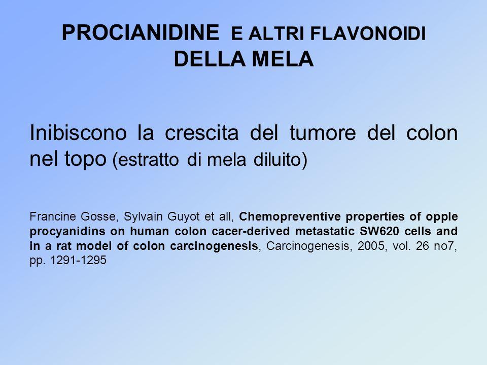 PROCIANIDINE E ALTRI FLAVONOIDI DELLA MELA Inibiscono la crescita del tumore del colon nel topo (estratto di mela diluito) Francine Gosse, Sylvain Guyot et all, Chemopreventive properties of opple procyanidins on human colon cacer-derived metastatic SW620 cells and in a rat model of colon carcinogenesis, Carcinogenesis, 2005, vol.