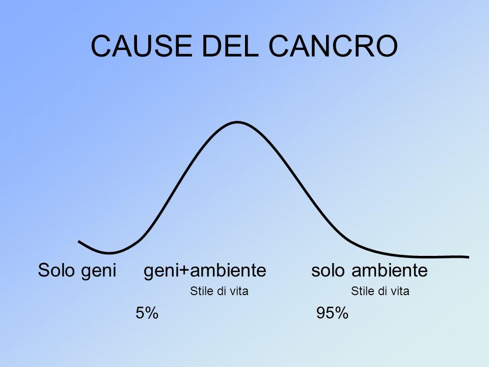 CAUSE DEL CANCRO Solo geni geni+ambiente solo ambiente Stile di vita Stile di vita 5% 95%