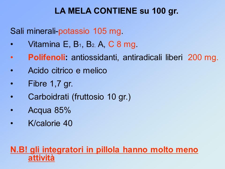 LA MELA CONTIENE su 100 gr.Sali minerali-potassio 105 mg.