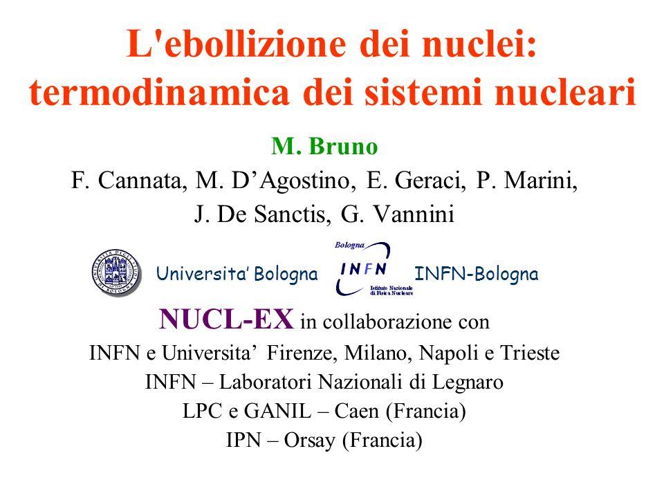 Caratterizzazione degli eventi: analisi multidimensionale Multics-NPA724 (2003) 329 Multics-NPA650 (1999) 329 Collisioni periferiche (binarie): due sorgenti Collisioni centrali: una sorgente