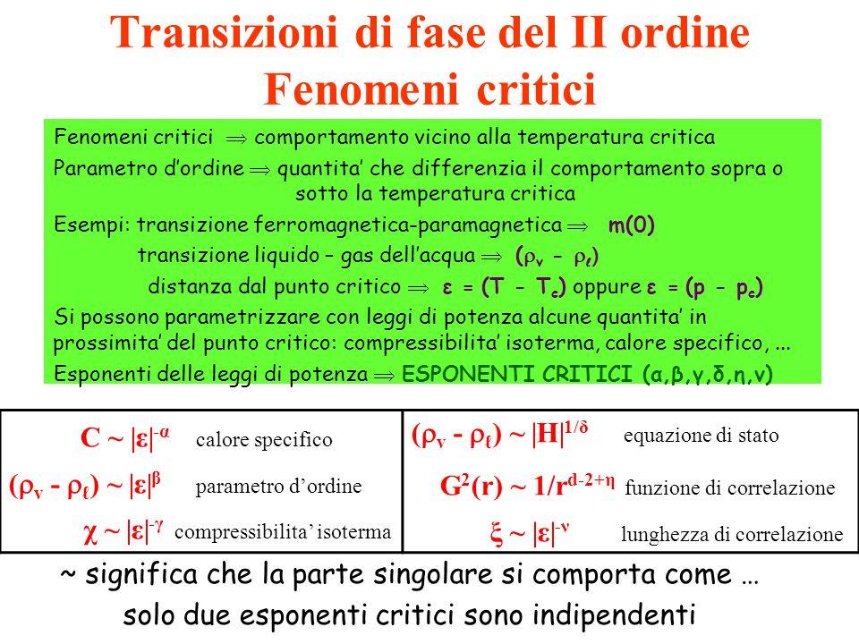 Transizioni di fase del II ordine Fenomeni critici Fenomeni critici comportamento vicino alla temperatura critica Parametro dordine quantita che diffe