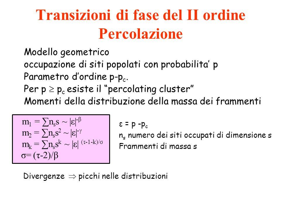 Transizioni di fase del II ordine Percolazione Modello geometrico occupazione di siti popolati con probabilita p Parametro dordine p-p c. Per p p c es