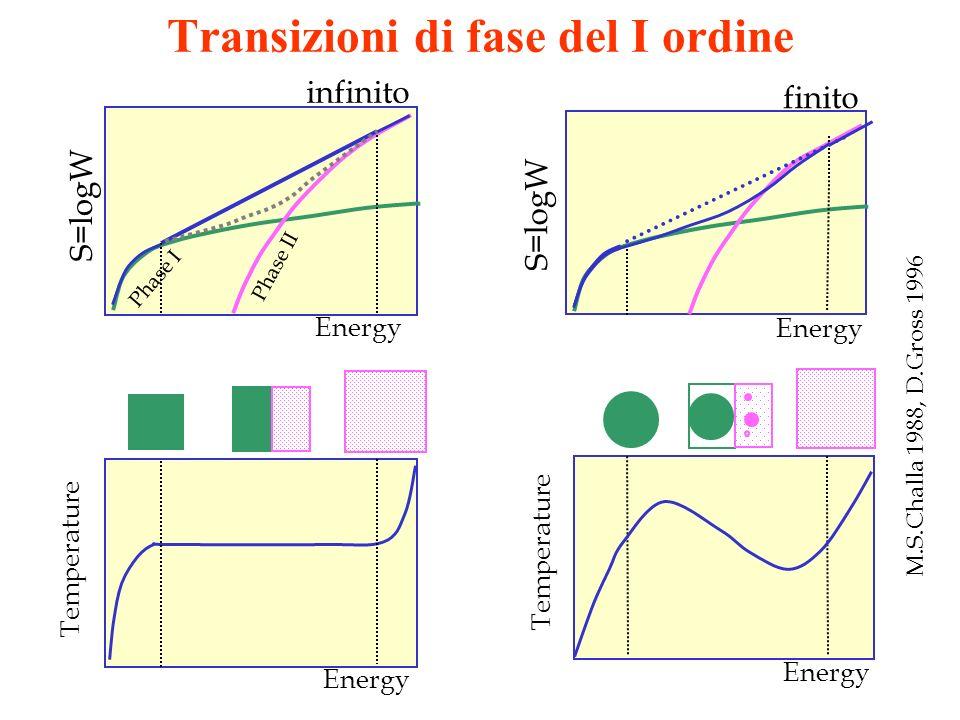 Transizioni di fase del I ordine Temperature Energy Phase II Phase I S=logW Energy Temperature finito S=logW Energy M.S.Challa 1988, D.Gross 1996 infi