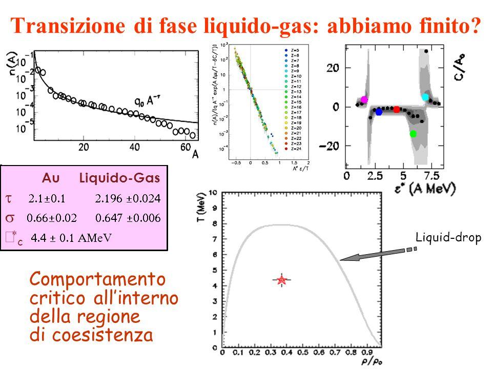 Comportamento critico allinterno della regione di coesistenza Au Liquido-Gas c eV Transizione di fase liquido-gas: abbiamo finito? Liquid-drop