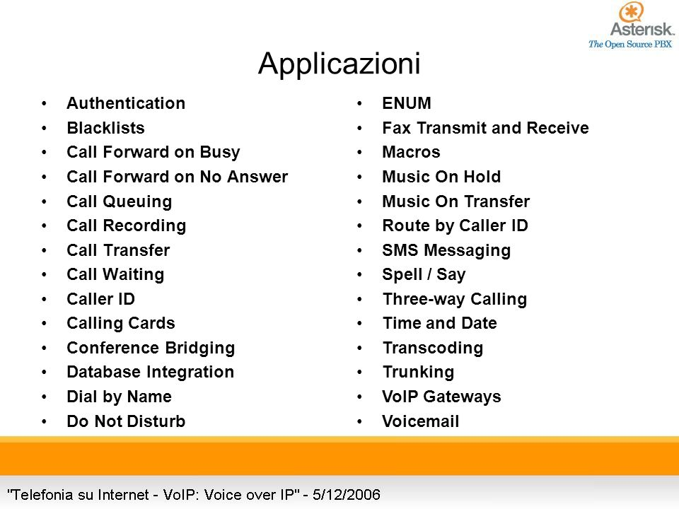 Applicazioni Authentication Blacklists Call Forward on Busy Call Forward on No Answer Call Queuing Call Recording Call Transfer Call Waiting Caller ID Calling Cards Conference Bridging Database Integration Dial by Name Do Not Disturb ENUM Fax Transmit and Receive Macros Music On Hold Music On Transfer Route by Caller ID SMS Messaging Spell / Say Three-way Calling Time and Date Transcoding Trunking VoIP Gateways Voicemail