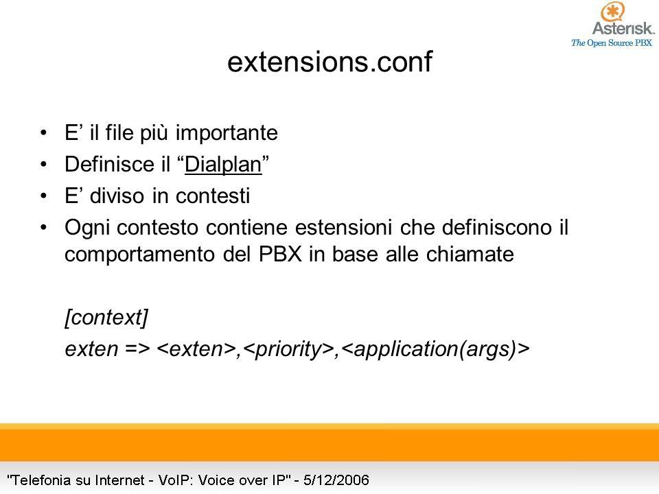 extensions.conf E il file più importante Definisce il Dialplan E diviso in contesti Ogni contesto contiene estensioni che definiscono il comportamento del PBX in base alle chiamate [context] exten =>,,