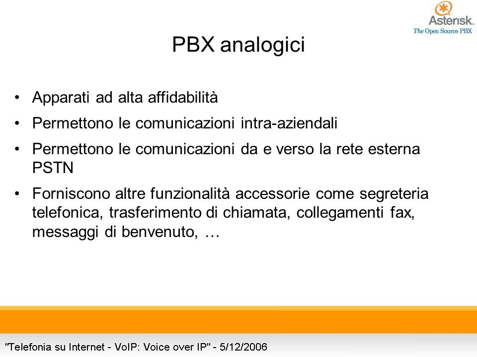 PBX analogici