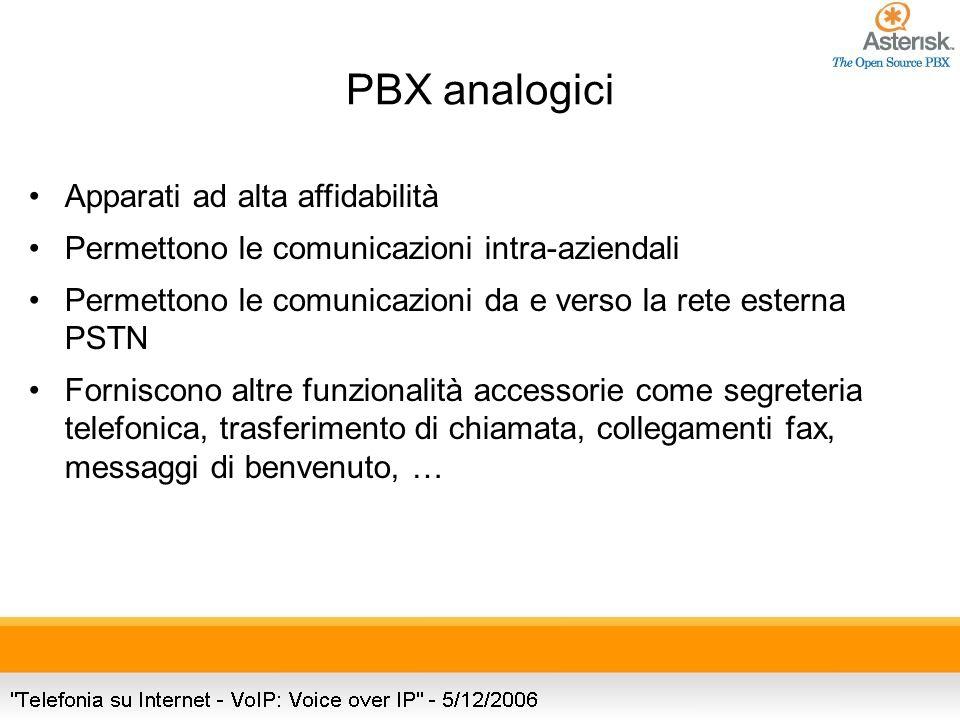 PBX analogici Apparati ad alta affidabilità Permettono le comunicazioni intra-aziendali Permettono le comunicazioni da e verso la rete esterna PSTN Forniscono altre funzionalità accessorie come segreteria telefonica, trasferimento di chiamata, collegamenti fax, messaggi di benvenuto, …