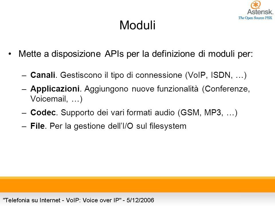 Mette a disposizione APIs per la definizione di moduli per: –Canali.