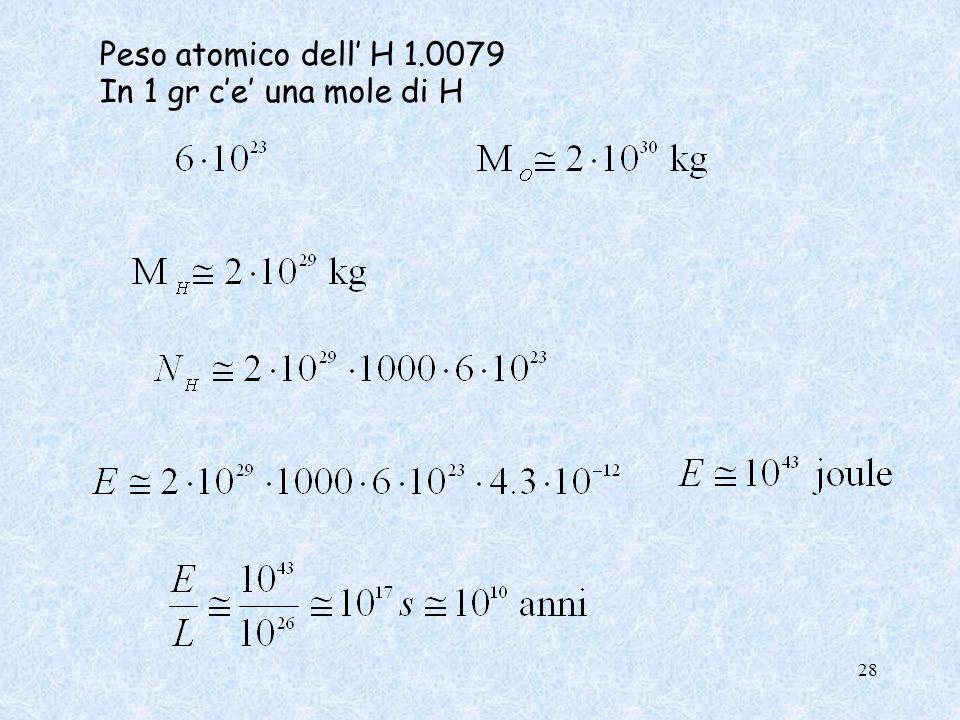 Peso atomico dell H 1.0079 In 1 gr ce una mole di H 28