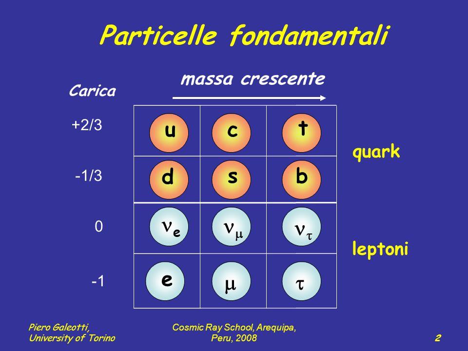 Piero Galeotti, University of Torino Cosmic Ray School, Arequipa, Peru, 2008 2 u d c s t b e e Carica +2/3 -1/3 0 quark leptoni Particelle fondamentali massa crescente