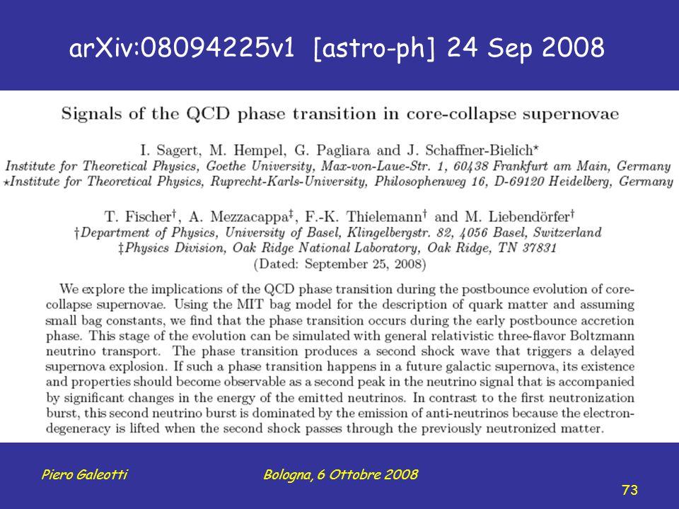 Piero GaleottiBologna, 6 Ottobre 2008 73 arXiv:08094225v1 [astro-ph] 24 Sep 2008