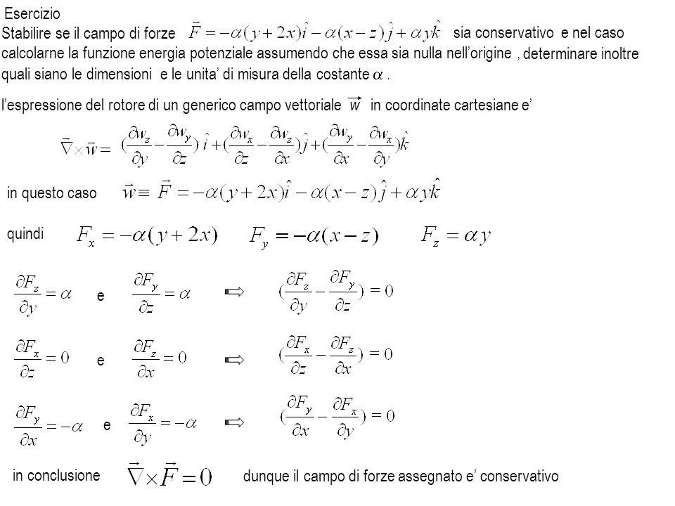 in conclusione lespressione del rotore di un generico campo vettoriale w in coordinate cartesiane e in questo caso quindi e e e dunque il campo di for