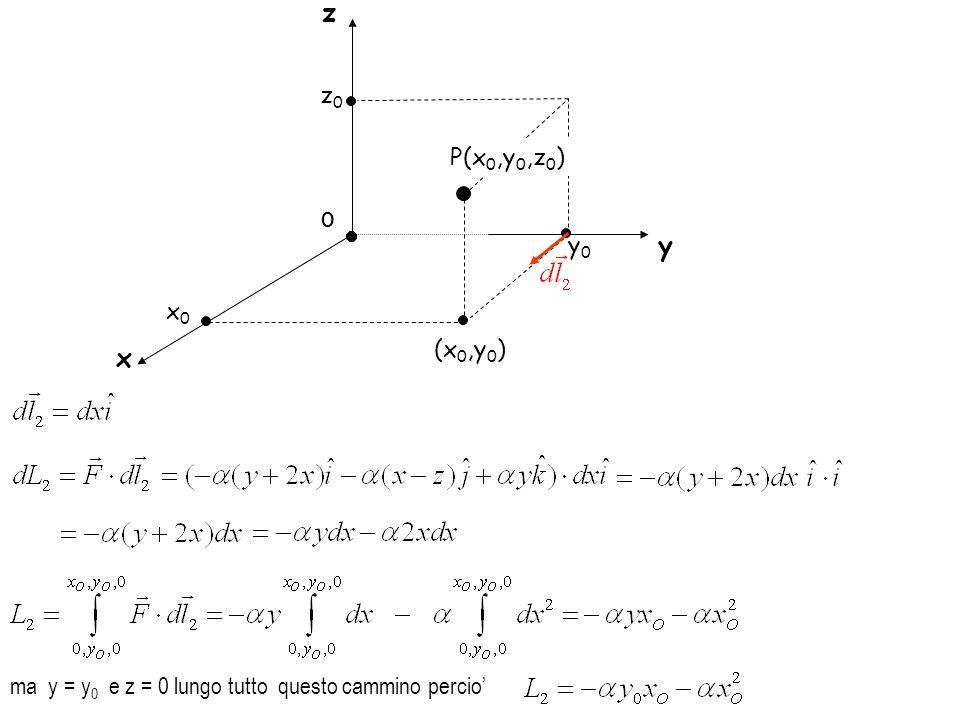 x0x0 O x y (x 0,y 0 ) y0y0 z0z0 P(x 0,y 0,z 0 ) z ma y = y 0 e z = 0 lungo tutto questo cammino percio