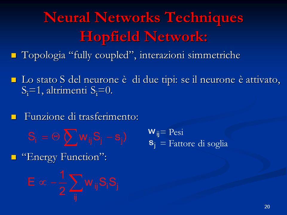 20 Neural Networks Techniques Hopfield Network: Topologia fully coupled, interazioni simmetriche Topologia fully coupled, interazioni simmetriche Lo stato S del neurone è di due tipi: se il neurone è attivato, S i =1, altrimenti S i =0.