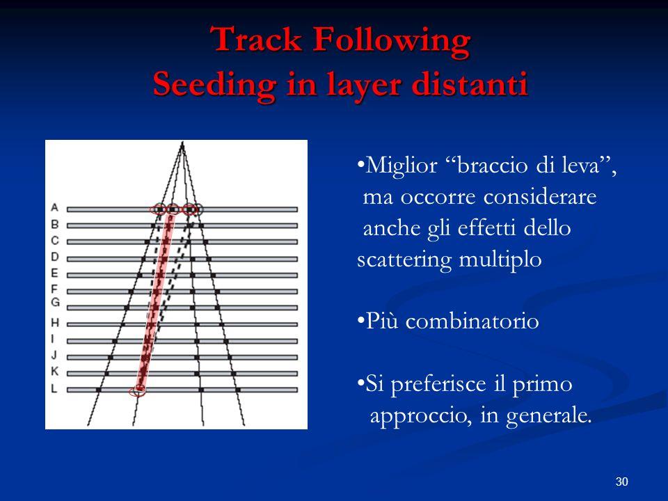 30 Track Following Seeding in layer distanti Miglior braccio di leva, ma occorre considerare anche gli effetti dello scattering multiplo Più combinatorio Si preferisce il primo approccio, in generale.