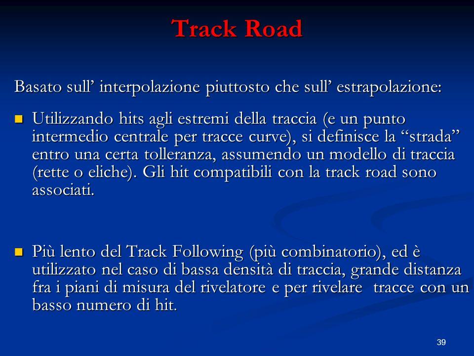 39 Track Road Utilizzando hits agli estremi della traccia (e un punto intermedio centrale per tracce curve), si definisce la strada entro una certa tolleranza, assumendo un modello di traccia (rette o eliche).