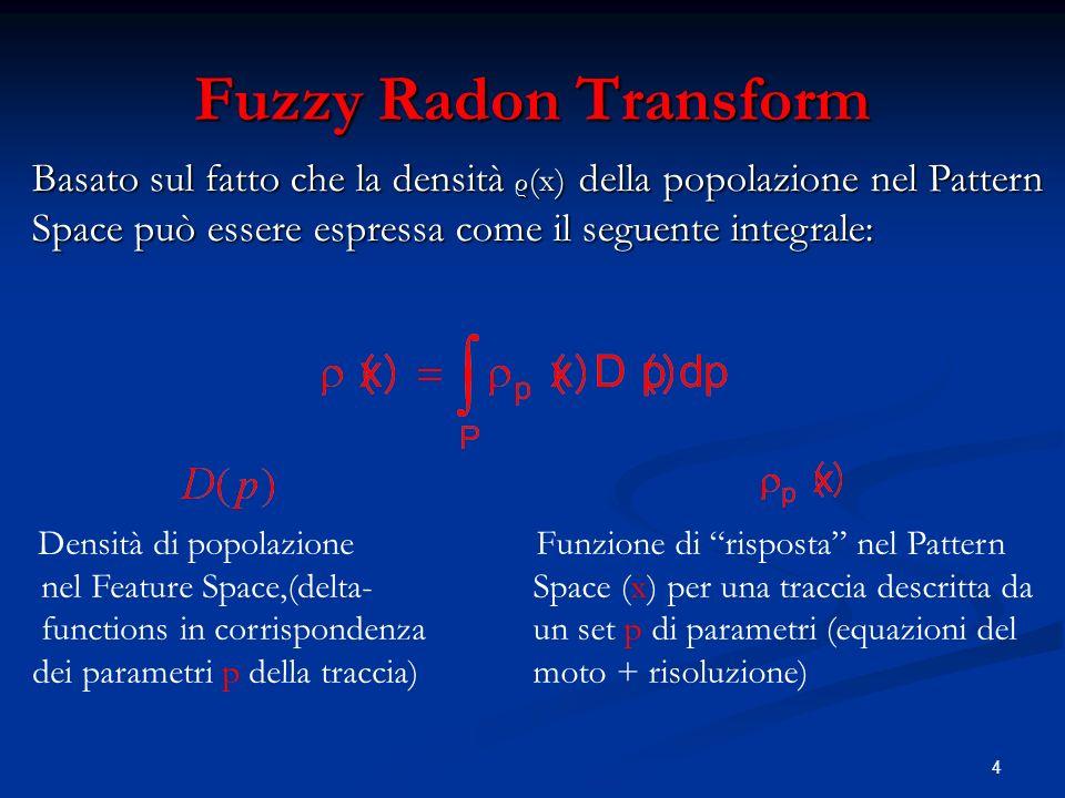 4 Fuzzy Radon Transform Basato sul fatto che la densità ρ (x) della popolazione nel Pattern Space può essere espressa come il seguente integrale: Densità di popolazione nel Feature Space,(delta- functions in corrispondenza dei parametri p della traccia) Funzione di risposta nel Pattern Space (x) per una traccia descritta da un set p di parametri (equazioni del moto + risoluzione)