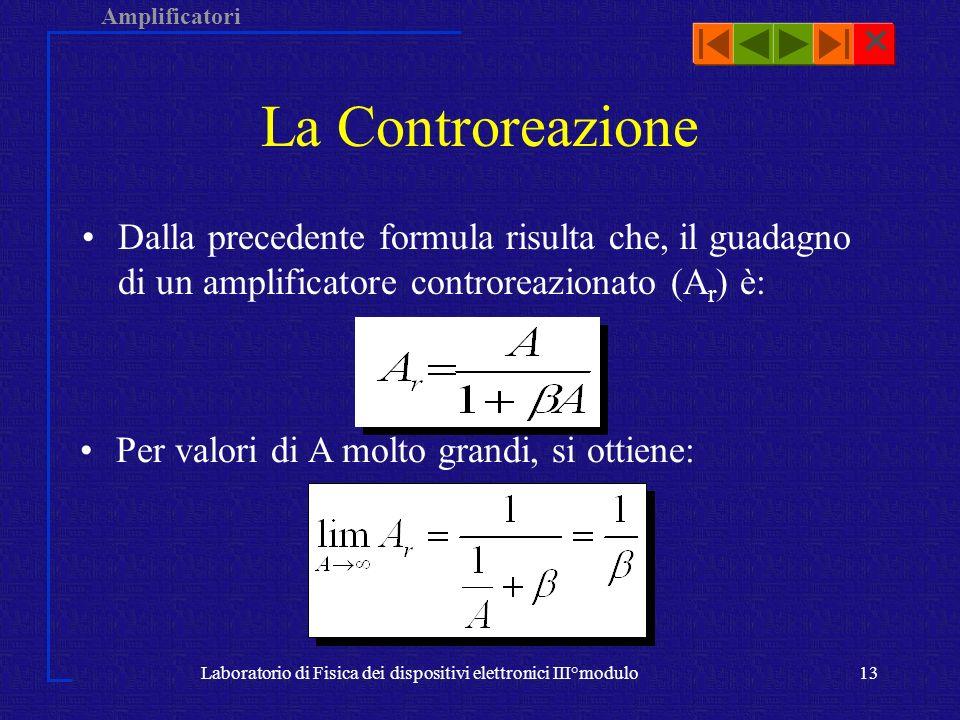 Amplificatori Laboratorio di Fisica dei dispositivi elettronici III°modulo13 Dalla precedente formula risulta che, il guadagno di un amplificatore con