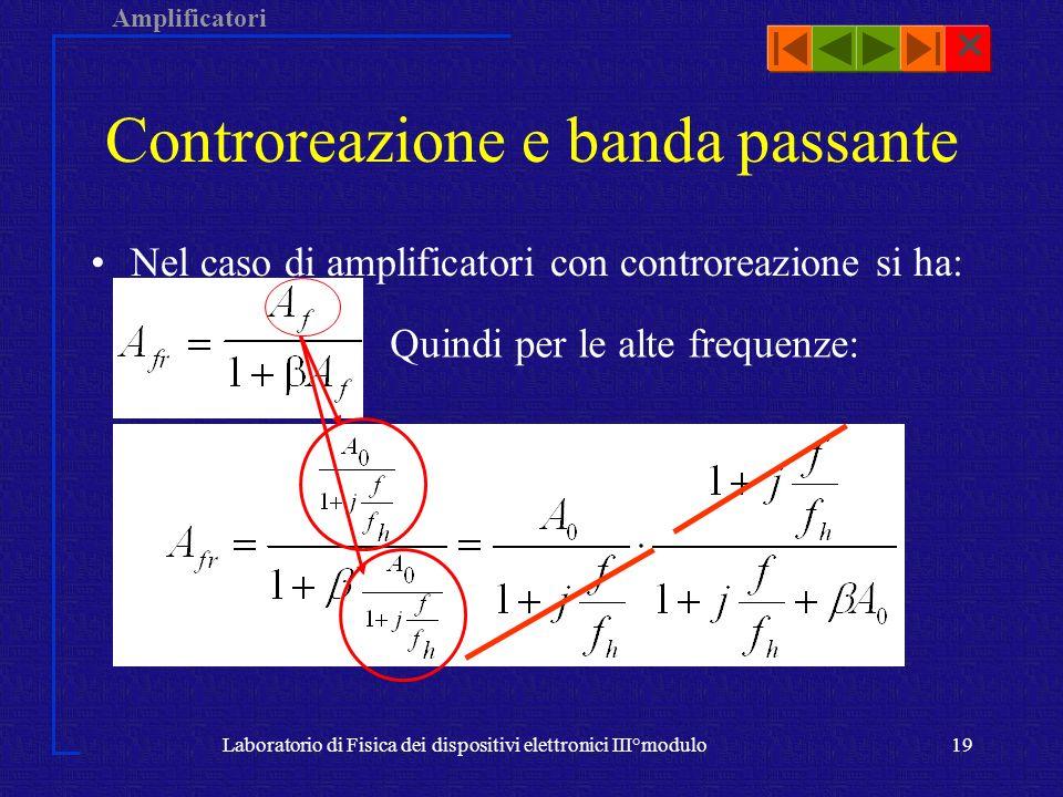 Amplificatori Laboratorio di Fisica dei dispositivi elettronici III°modulo19 Controreazione e banda passante Nel caso di amplificatori con controreazi