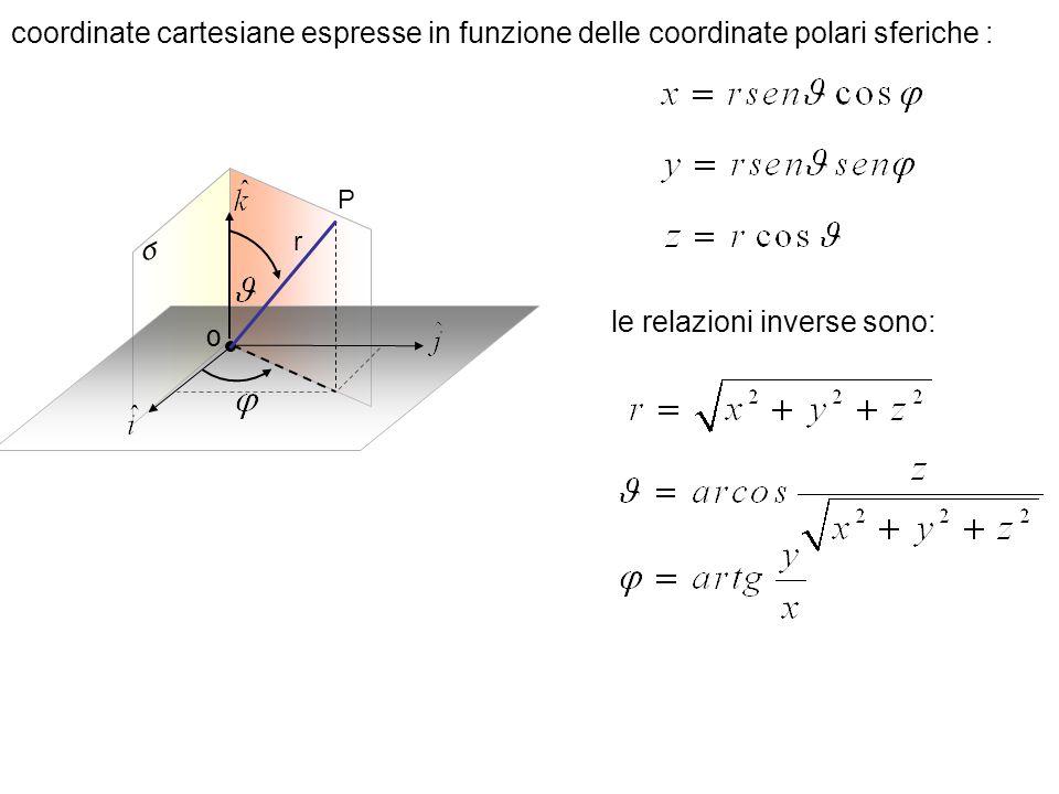 le relazioni inverse sono: O r P coordinate cartesiane espresse in funzione delle coordinate polari sferiche :