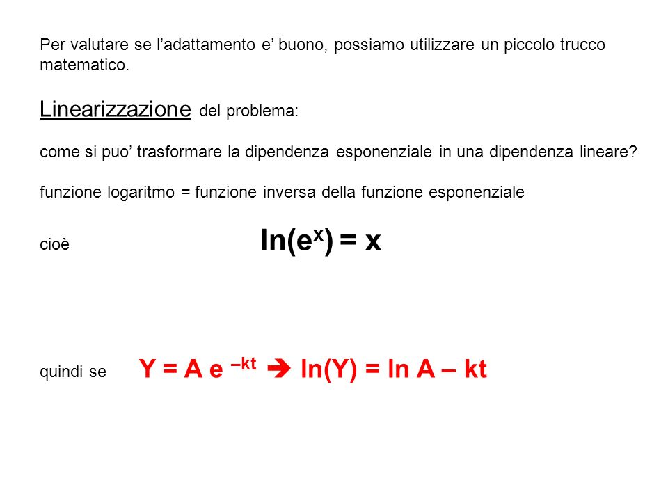 Per valutare se ladattamento e buono, possiamo utilizzare un piccolo trucco matematico.
