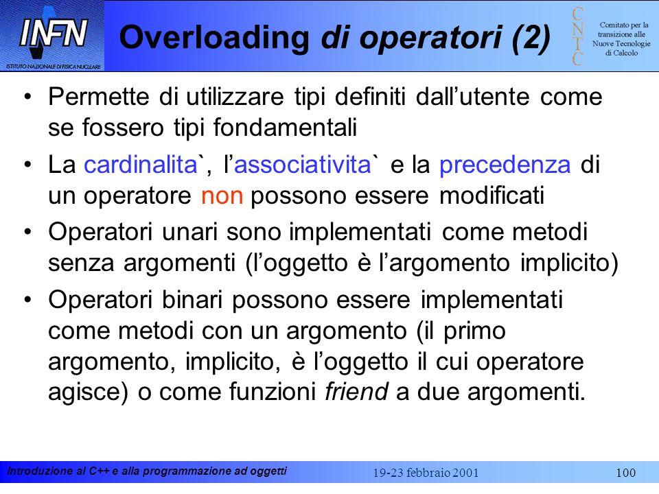 Introduzione al C++ e alla programmazione ad oggetti 19-23 febbraio 2001100 Overloading di operatori (2) Permette di utilizzare tipi definiti dalluten