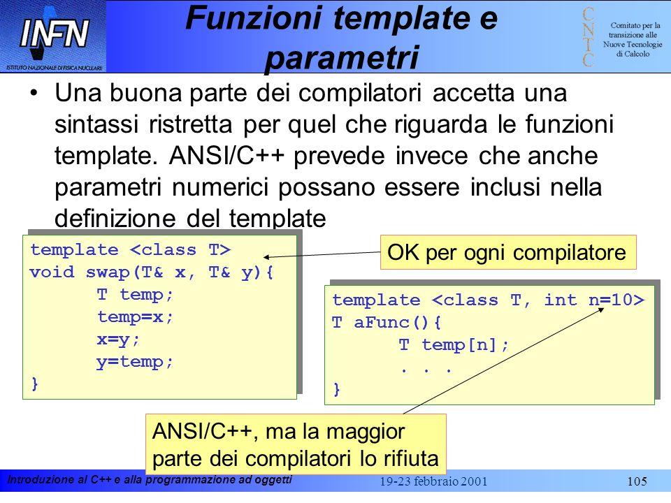 Introduzione al C++ e alla programmazione ad oggetti 19-23 febbraio 2001105 Funzioni template e parametri Una buona parte dei compilatori accetta una