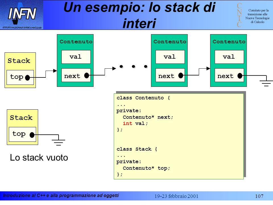 Introduzione al C++ e alla programmazione ad oggetti 19-23 febbraio 2001107 Un esempio: lo stack di interi val Contenuto next val Contenuto next... va
