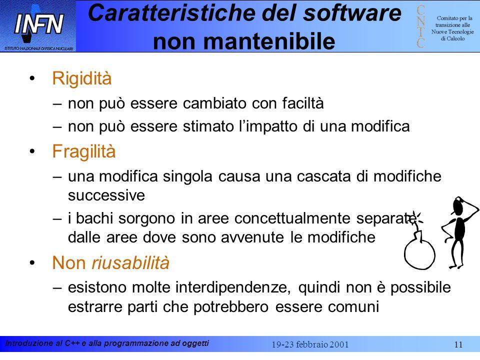 Introduzione al C++ e alla programmazione ad oggetti 19-23 febbraio 200111 Caratteristiche del software non mantenibile Rigidità –non può essere cambi