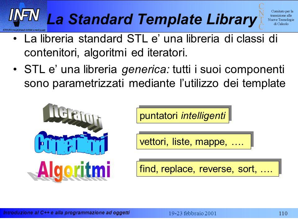 Introduzione al C++ e alla programmazione ad oggetti 19-23 febbraio 2001110 La Standard Template Library vettori, liste, mappe, …. find, replace, reve