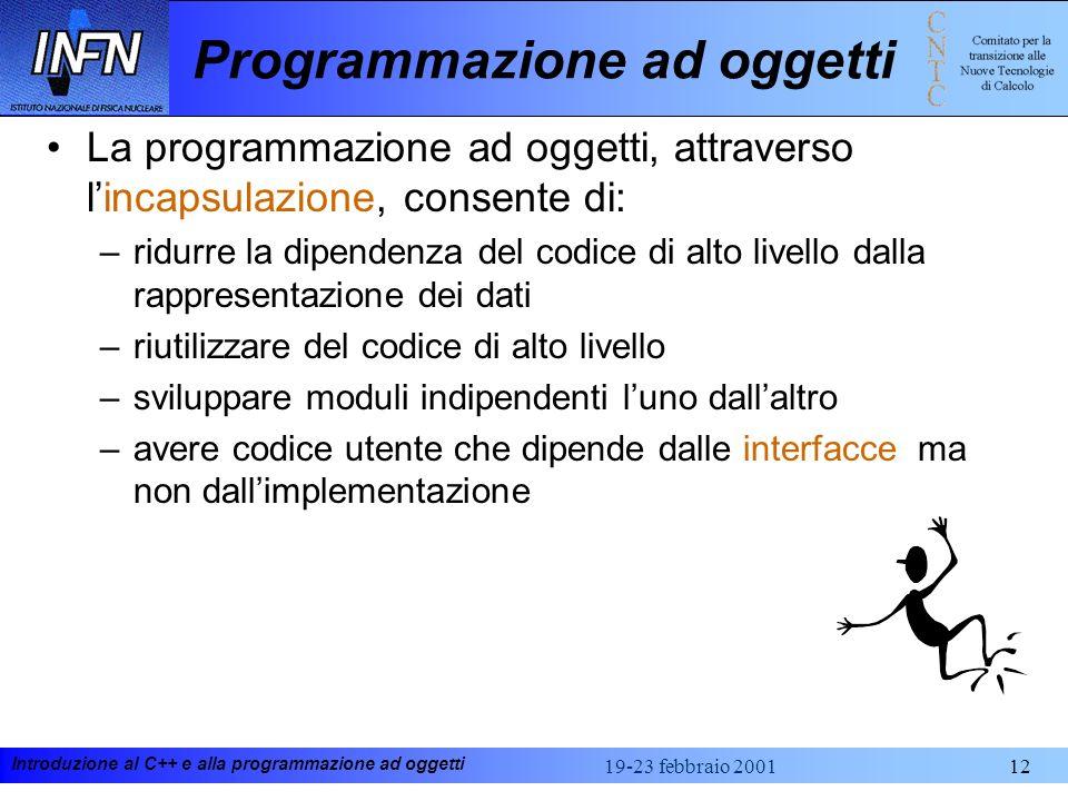 Introduzione al C++ e alla programmazione ad oggetti 19-23 febbraio 200112 Programmazione ad oggetti La programmazione ad oggetti, attraverso lincapsu