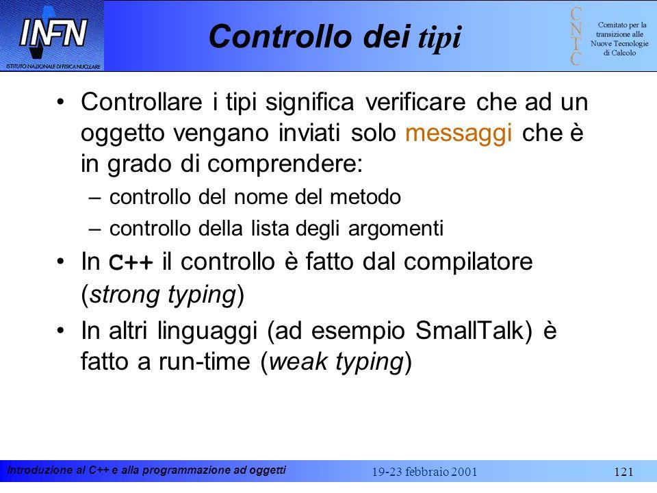 Introduzione al C++ e alla programmazione ad oggetti 19-23 febbraio 2001121 Controllo dei tipi Controllare i tipi significa verificare che ad un ogget