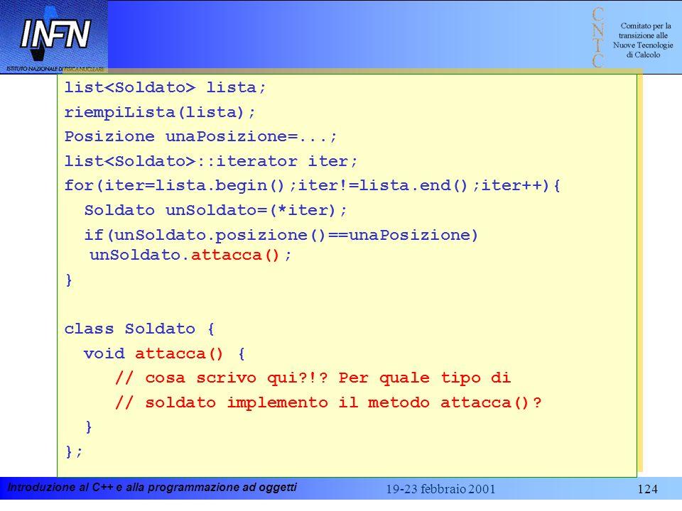 Introduzione al C++ e alla programmazione ad oggetti 19-23 febbraio 2001124 list lista; riempiLista(lista); Posizione unaPosizione=...; list ::iterato